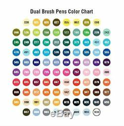 Tombow 96 Dual Tip Brush Fine Art Markers Blender Pens Set with Stand NEW
