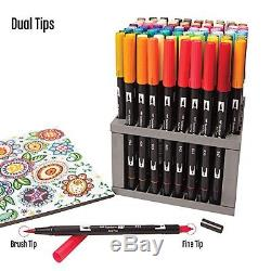 Tombow Dual Brush Pen Art Markers, 96 Color Set with Desk Stand New