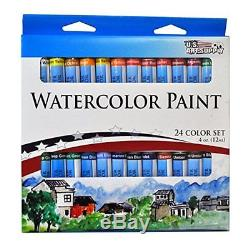 US Art Kits Supply 133pc Deluxe Artist Painting Set with Aluminum and Wood Paint