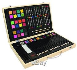 US Art Supply 82 Piece Deluxe Art Drawing Creativity Set in Wooden Case with