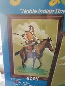 Vintage Craft Master Paint By Number Set Native American Noble Indian Braves