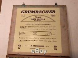 Vintage Grumbacher NY soft art pastels Set 56 in wooden box 60 diff. Pastels