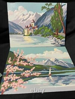 Vintage Paint By Number Mid Century Lake Mountain Pink Blue Set Pair 12x16 1962
